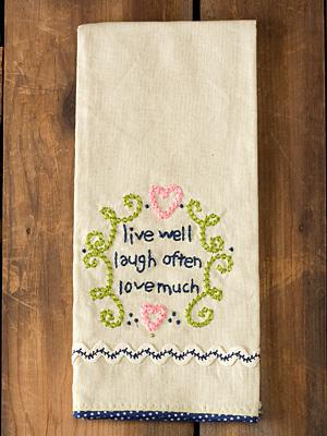 Live well, laugh Tea Towel